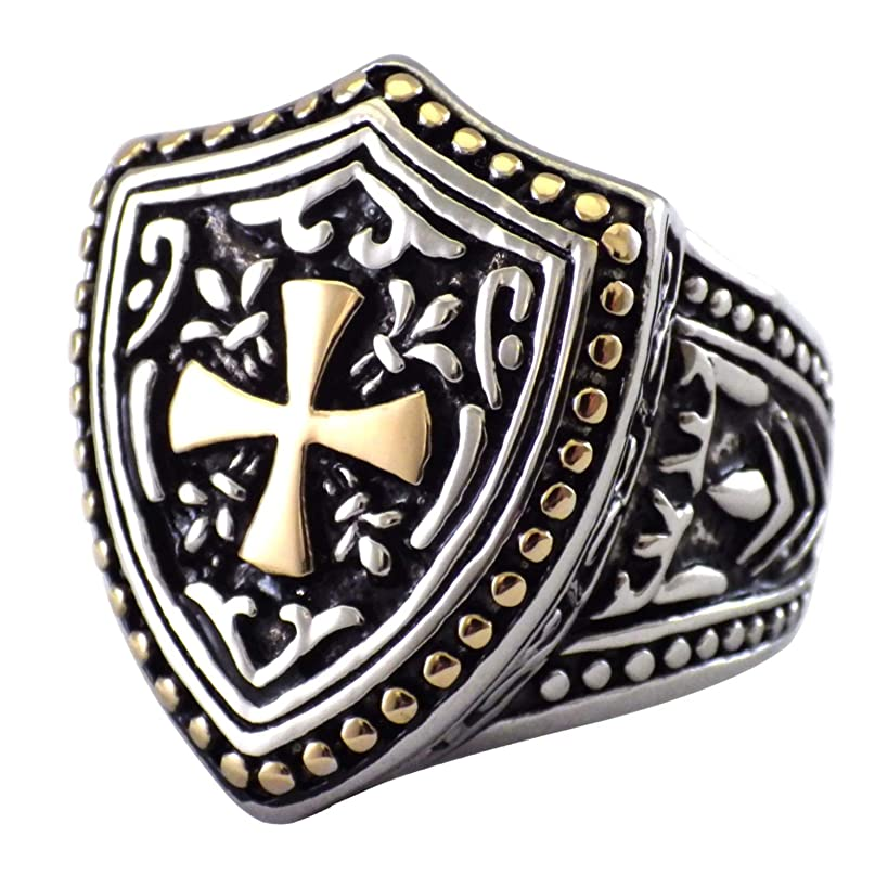 Fantasy Forge Jewelry Knights Templar Cross Shield Ring Mens Stainless Steel Band Sizes 8-15