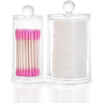 HBF Organizador Maquillaje Acrilico Organizador Bastoncillos Maquillaje con Tapa Caja para Discos Algodón: Amazon.es: Hogar