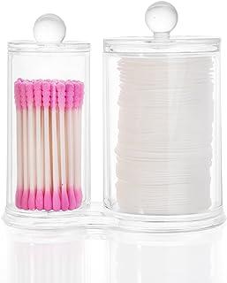 HBF Organizador Maquillaje Acrilico Organizador Bastoncillos Maquillaje con Tapa Caja para Discos Algodón