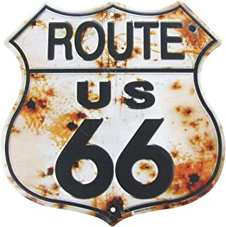 Rusty Highway Route 66 Metal Sign US Made Vintage Rustic Garage Man Cave Wall Decor