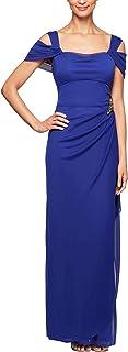 Alex Evenings Women's Long Cold Shoulder Dress (Petite...