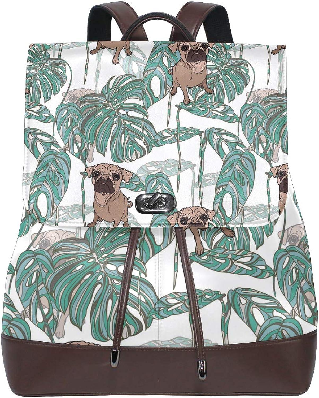 Fashion Shoulder Bag Rucksack PU Leather Women Girls Ladies Backpack Travel Bag Pug Tropical Leaves Shirt