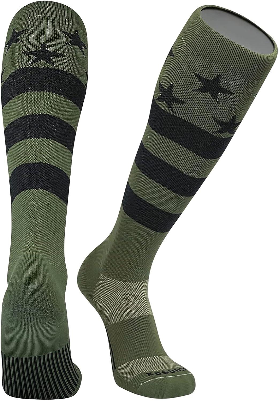 Pearsox USA Flag Patriot Military Green Black Knee High Long Baseball Football Socks
