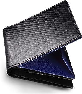 aliba メンズ 二つ折り財布 カーボンレザー ボックス型小銭入れ コンパクト 折りたたみ財布