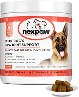 NEXPAW Joint Supplement for Dogs with High Dose of Glucosamine & MSM | Best for Joints | Improves Mobility in Hips & Elbows — Premium Daily Support for Arthritis & Hip, 120 Wheat-Free Soft Chews