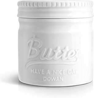 DOWAN Porcelain Butter Keeper Crock, Mason Jar Style Butter Crock, French Butter Dish with Lid, Embossed Butter Bell for Soft Butter, White