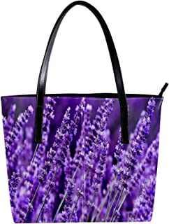 LORVIES - Borsa a tracolla da donna, in pelle PU, con fiori di lavanda e borsette, da donna