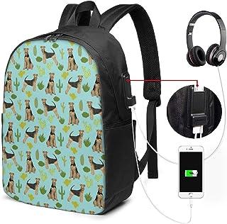 Airedale Terrier Cactus - Mochila para computadora portátil de Viaje de Tela Azul para Perros, para Negocios, antirrobo, Delgada, Duradera con Puerto de Carga USB, Mochila para computadora de