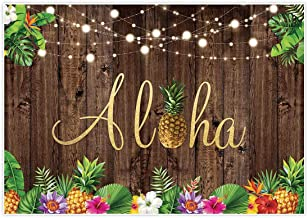 Allenjoy 7x5ft Aloha Rustic Wooden Backdrop for Summer Tropical Hawaiian Beach Luau Party Photography Background Birthday Banner Pineapple Floral Flowers Prom Baby Shower Photo Booth Shoot Decor