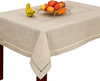Grelucgo Handmade Double Hemstitch Natural Tablecloth, Rectangular 60 by 84 Inch