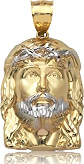 10K Yellow Gold Two-Tone High Polish Jesus Head Charm Pendant (1.99