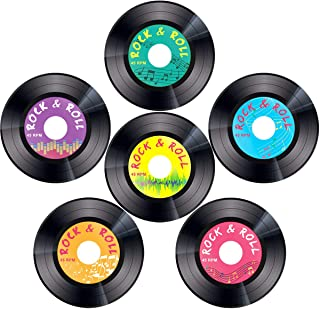 Record Cutouts 1950`s Rock and Roll Music Party Two Sided Decoration 30pcs 7 Inches