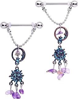 "Body Candy 14G Womens Nipplerings Piercing Steel 2Pc Purple Accent Sun Moon Dangle Nipple Ring Set 5/8"""