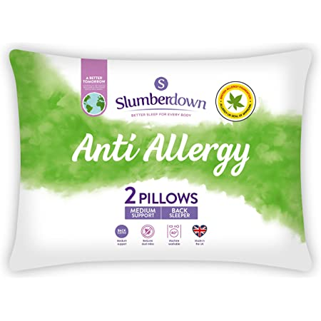 Slumberdown Anti Allergy White Pillows 2 Pack Medium Support Bed Pillows Designed for Back and Side Sleepers Bed Pillows