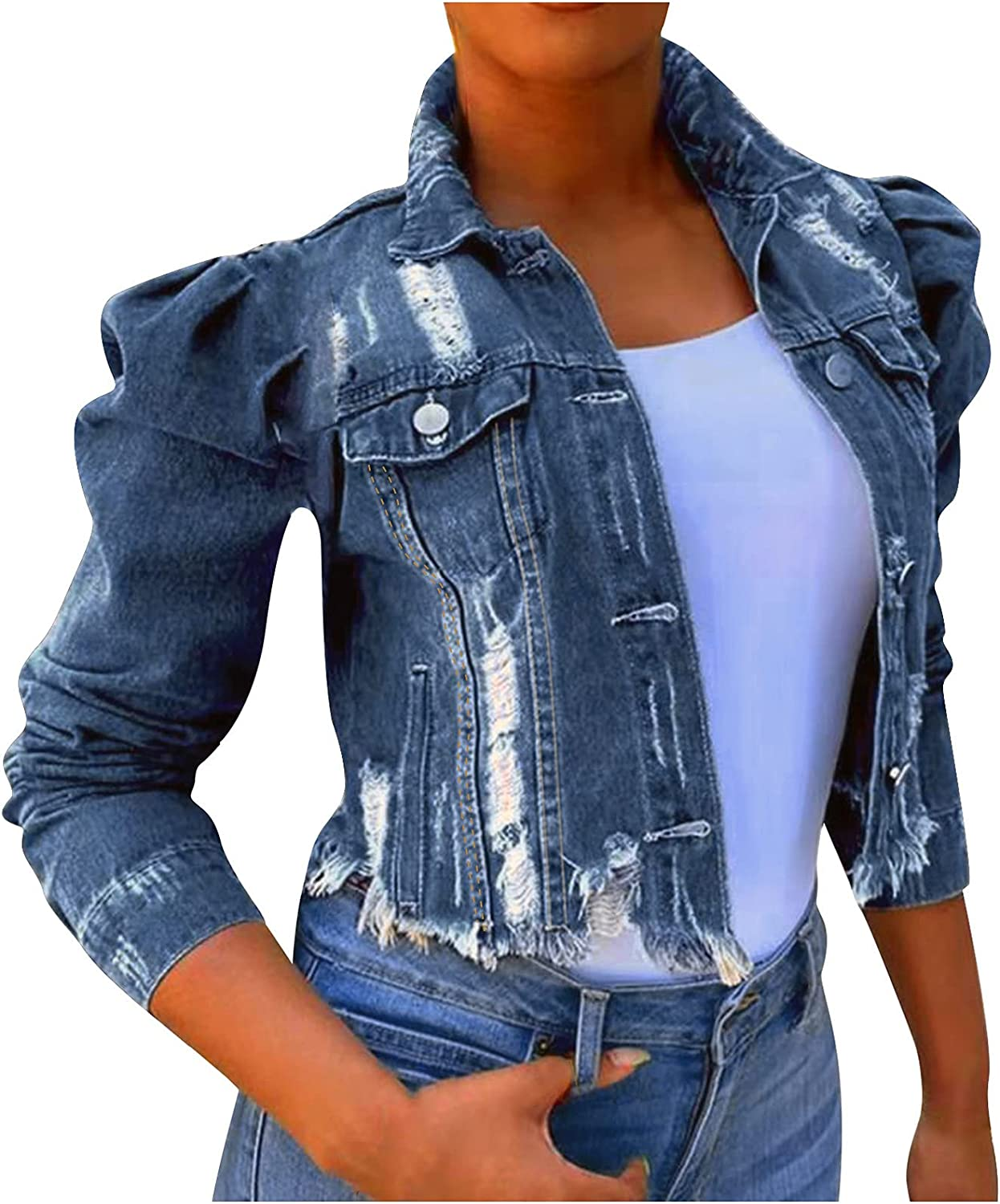 Women's Vintage Washed Denim Jackets Ladies Long Sleeved Button Top Drawtring Loose Winter Coats for Women