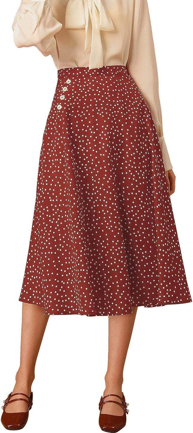 1940s Teenage Fashion: Girls Allegra K Womens Retro Polka Dots Elastic Waist Vintage A-Line Midi Skirt  AT vintagedancer.com