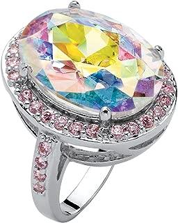 Silvertone Oval Cut Aurora Borealis Pink Cubic Zirconia Halo Cocktail Ring