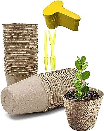 Bershaker Peat Pots,120 Pack 2.36 inch Seed Starter Pots,Planting ...