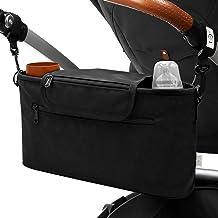 BiMAX Kinderwagen Organizer inkl. Schulterband, Isoliertasche und Befestigungshaken I Kinderwagentasche I Pram, Buggy Organizer Schwarz