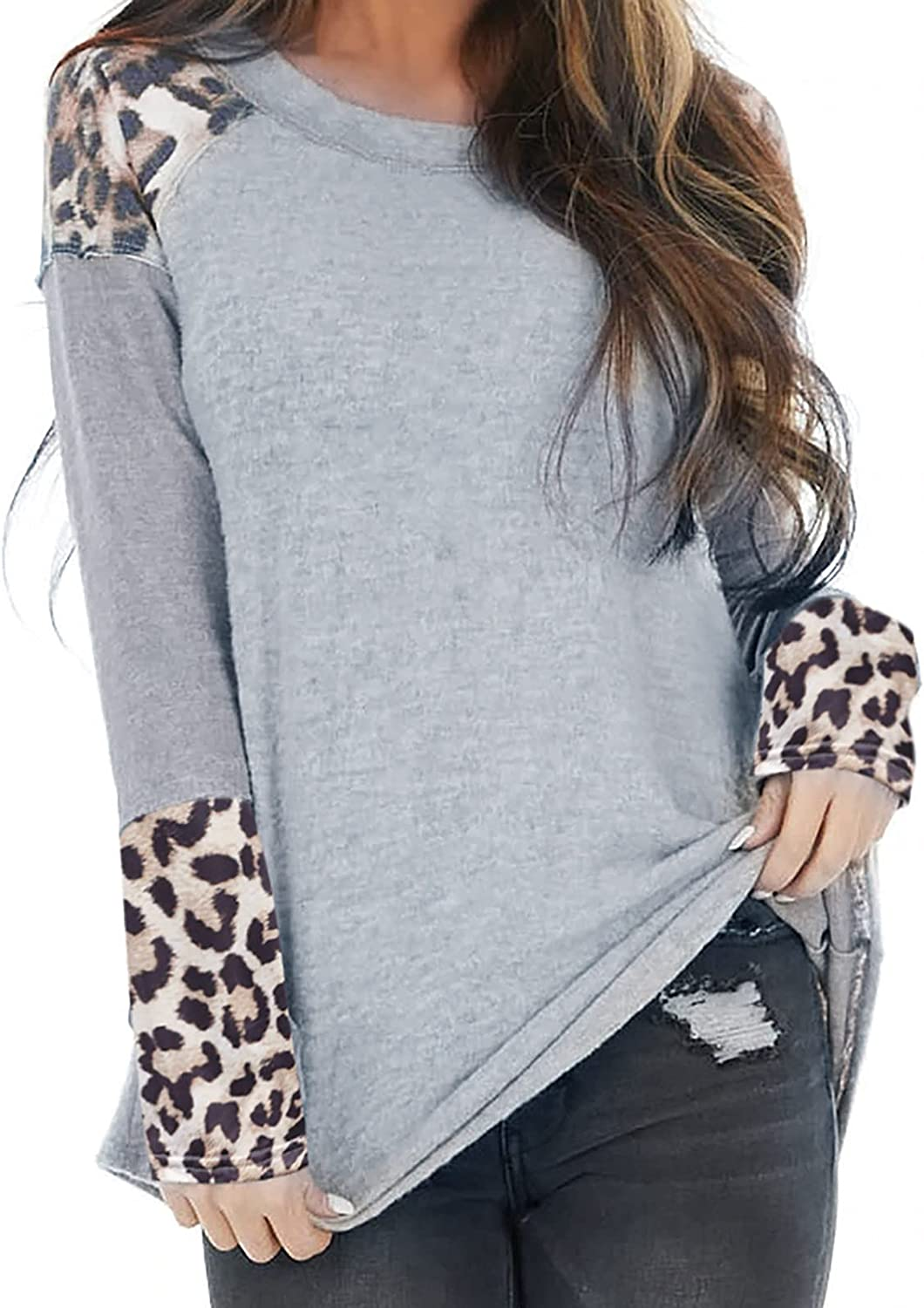 Womens Tops Long Sleeve Shirts Leopard Stitching Print Pullover Tunic Round Neck Blouse Casual Loose Sweatshirt