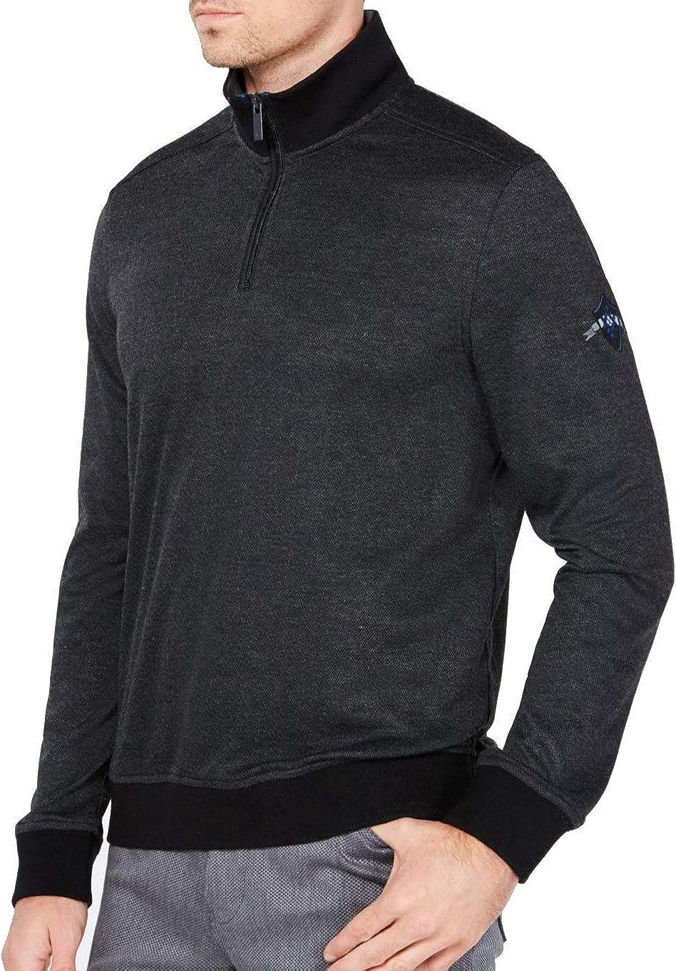 Ryan Seacrest Mens Quarter-Zip Pullover Sweater, Black, XX-Large