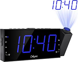 """OnLyee Projection Alarm Clock with AM FM Radio, 7"""" LED Digital Ceiling Display, Sleep Timer, 180°Projector, Desk/Shelf Clock with Dimmer, USB Charging, AC Powered and Battery Backup for Bedroom"""
