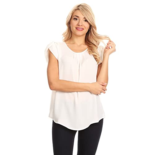f451b7011da VIA JAY s Basic Casual Simple Short Sleeve Blouse TOP