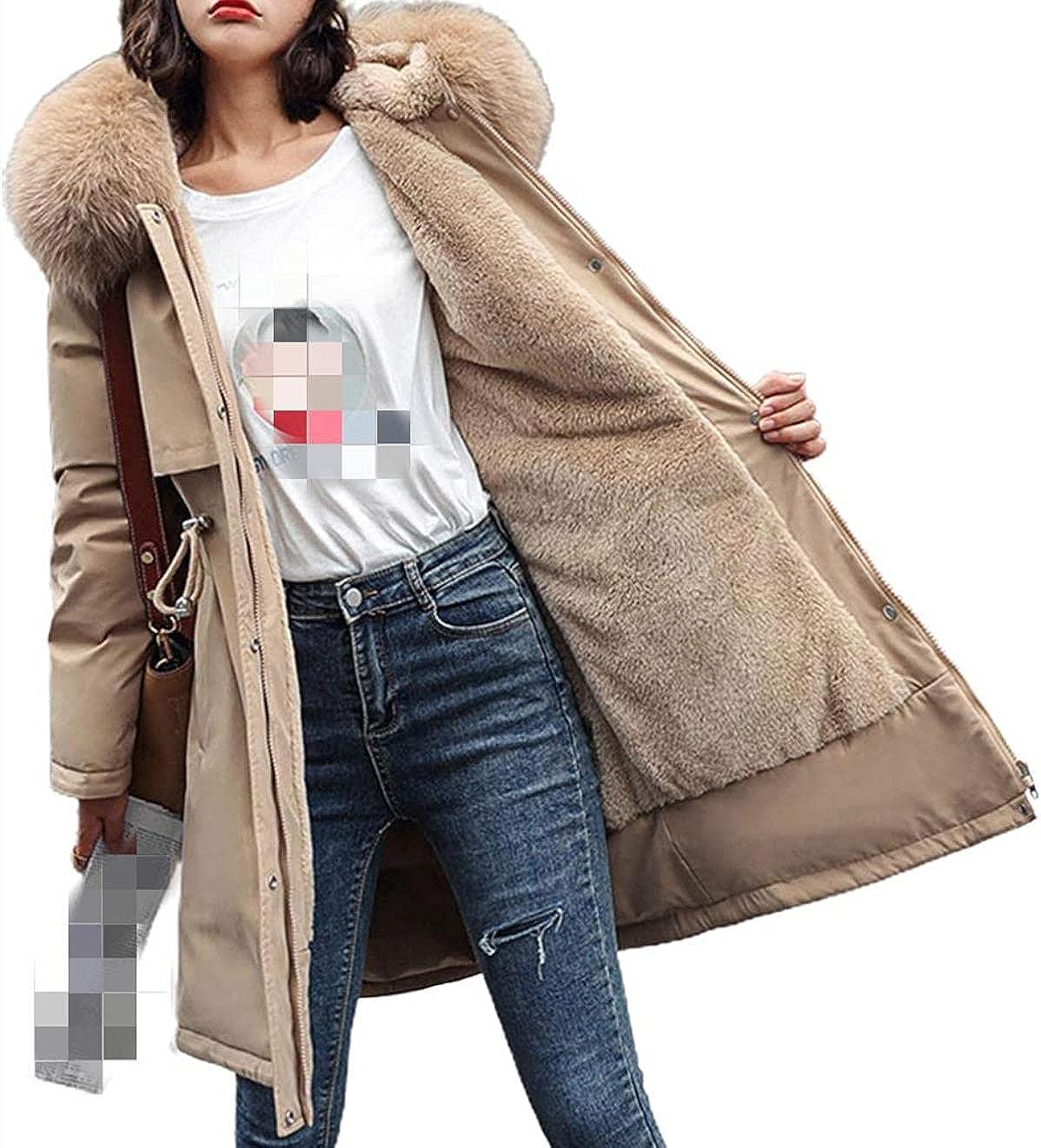 Women's Windproof Sherpa Lined Long Winter Parka Coat Faux Fur Hood