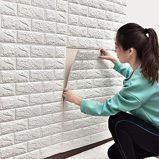 Sunhoo 3D壁紙 レンガ DIY壁紙シール 立体 ウォールステッカー防音 シート パネル ステッカー タイル 60cm×60cm (ホワイト, 10枚入れ)