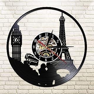 GYJCD Paris London Travel Themed Vinyl Record Wall Clock Tower Big Ben Tower Unique Travel Landmark Wall Art Reloj Retro R...