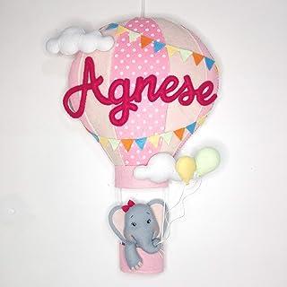 Fiocco nascita mongolfiera bimba personalizzabile, regalo nascita, dolce attesa, regali per bimbo e bimba, neonati