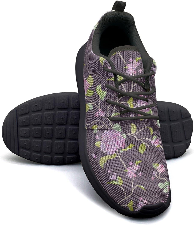 Gjsonmv Purple Bouquet Hydrangea Stripe mesh Lightweight shoes for Women Casual Sports Workout Sneakers shoes