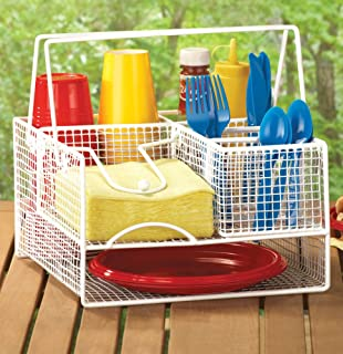 Easy Carry Bbq Picnic Caddy Utensil Holder