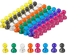 Push Pin Magnets, Refrigerator Magnets, 8 Assorted Colors 64 Bulk Pack Magnetic Push Pins..