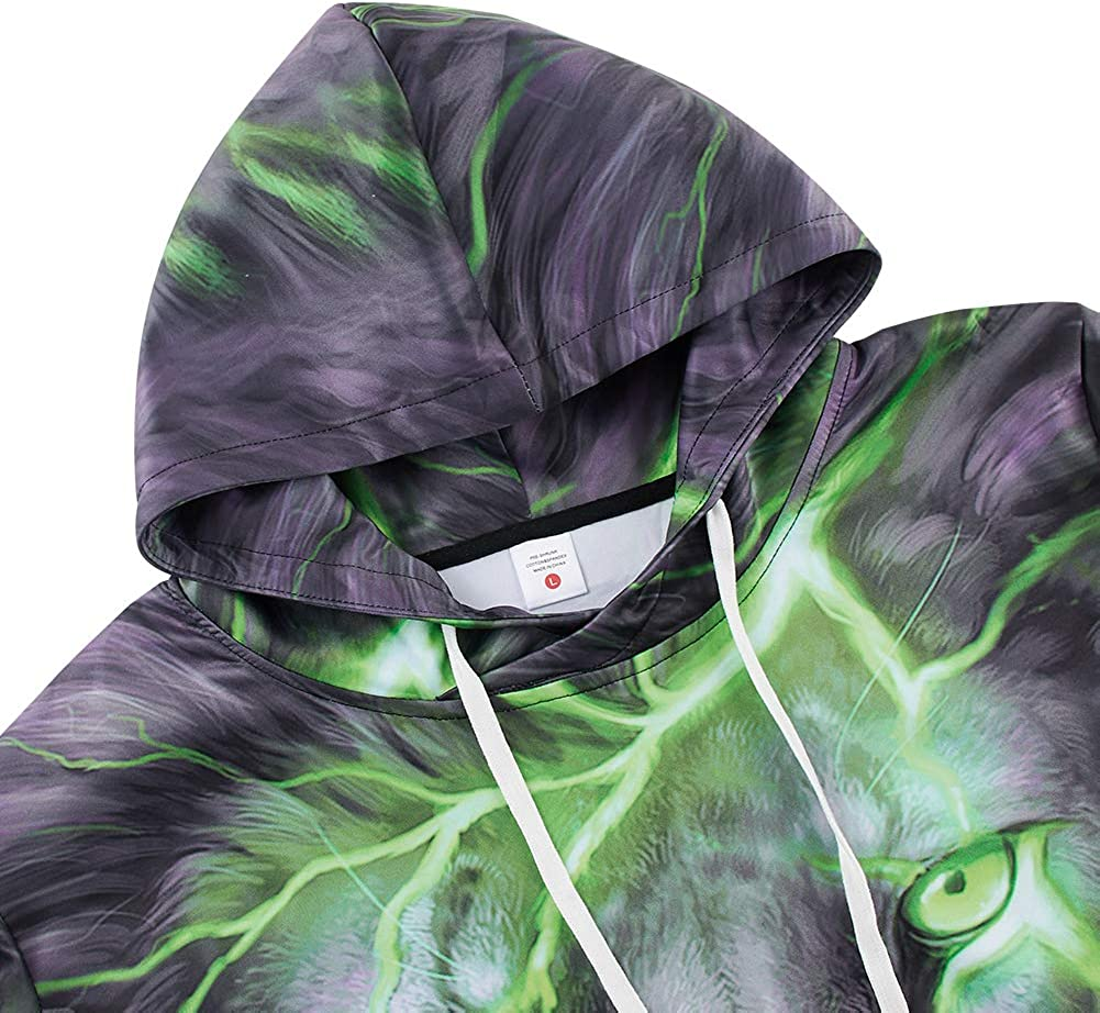 Leapparel Unisex Adult Hoodies 3D Graphic Pullover Drawstring Sweatshirt for Men and Women with Pocket