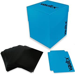 Vault X Deck Box and 150 Black Card Sleeves – Large Size for 120-130 Sleeved Cards..