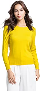 Escalier Women`s Sweater Pullover V-Neck/Crew Neck Loose Long Sleeve Solid Knit Sweaters Top