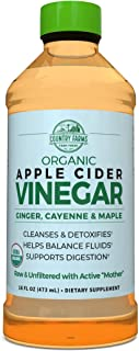 Country Farms Organic Apple Cider Liquid, USDA Organic with Ginger, Cayenne and Maple 32 servings