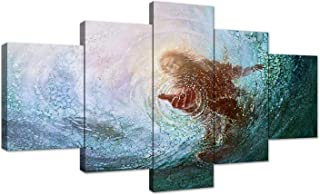 AMEMNY The Hand of God Painting Jesus Reaching Into Water Canvas Prints Wall Art Christ Poster Christian Home Decor for Bedroom Living Room Pictures 5 Panels Painting Framed Ready to Hang