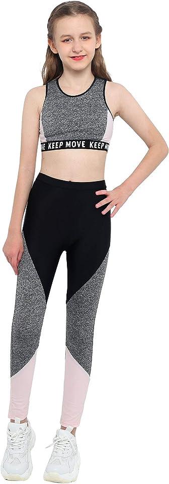 Teenager Mädchen Trainingsanzug Drucken Sport Kleidung Set Jogginganzug Yoga Fitness Crop Top Oberteil mit Leggings Streetwear