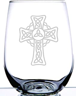 IE Laserware Irish Celtic Cross Stemless Wine Glass