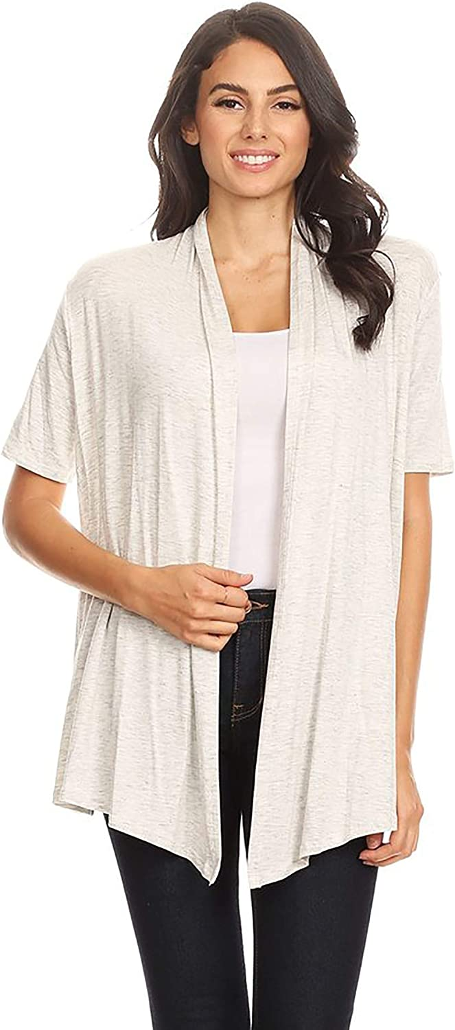 HEO CLOTHING Women's Plus Size Reg Solid & Printed Open Front Draped Jacket Cardigan Made in USA