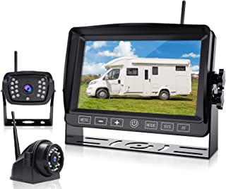 $219 » Wireless Backup Camera with DVR Recorder, 7 Inch HD 1080P Monitor with 2 Cameras, Touch Button for RV/Camper/Trailer/Truc...