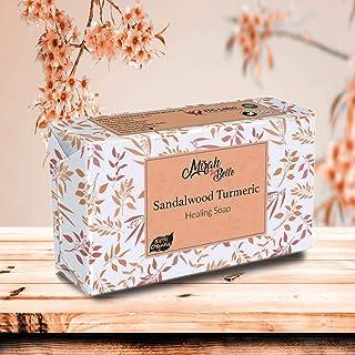 Mirah Belle - Organic Sandalwood Turmeric (Haldi Chandan) Healing Soap Bar (125 gm) - For Acne, Breakouts, Pimples and Ble...