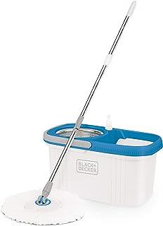 CZARNY DECKER BXBK0001GB 360° mop wirowany i wiadro z bębnem ze stali nierdzewnej, 44 cm x 24 cm x 23 cm, biały