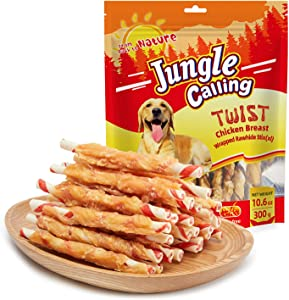 Jungle Calling Chicken Dog Treats,Chicken Wrapped Rawhide Sticks for Dogs, Grain-Free for Training Rewards,11Oz