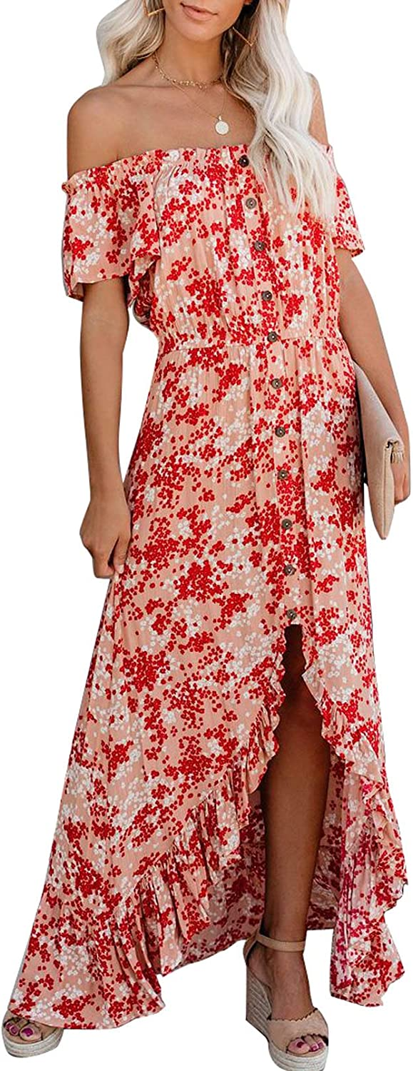 Ecrocoo Womens Sexy Off The Shoulder Maxi Dress Casual Summer Short Sleeve Cocktail Dress High Slit Floral Dresses