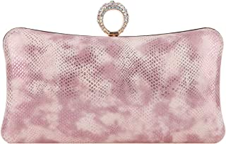 Fawziya Bling Ring Clutch Cocktail Purses For Women Snakeskin Evening Bag