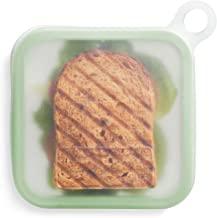 Lekue Reusable sandwich case, 7.1 x 7.1 x 1.8 inches, frost & mint