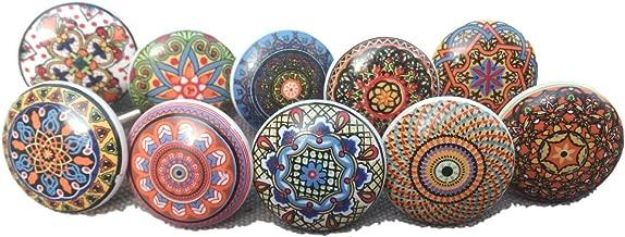 10 tiradores vintage de cerámica con distintos diseños de flores, ideales para puertas, armarios, cajones y cómodas